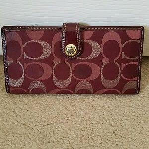 Coach Burgundy & Gold Wallet